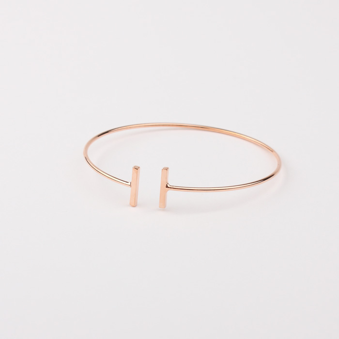 Pink gold plated 'T' bar shaped Bracelet, wire Bangle, pink gold bracelet, cuff bracelet, Wire Stick bangle, adjustable size
